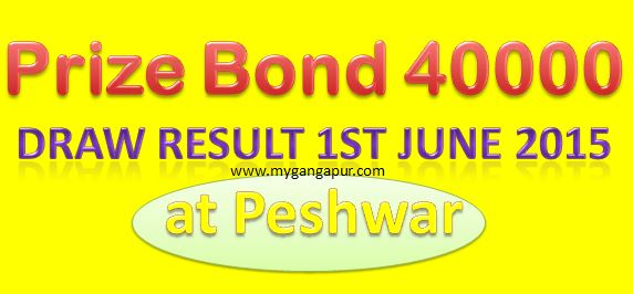Prize bond 40000 Draw 1st June at Peshawar