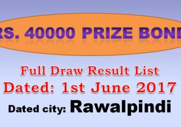 Prize Bond Rs 40000 Draw Result List 1st June 2017 Rawalpindi