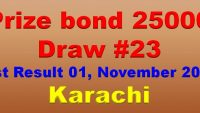 Prize Bond Rs. 25000 Draw #23 Full List Result 01-11-2017 Karachi