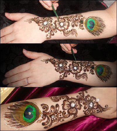 Glitter Mehndi Designs for Ladies 2013