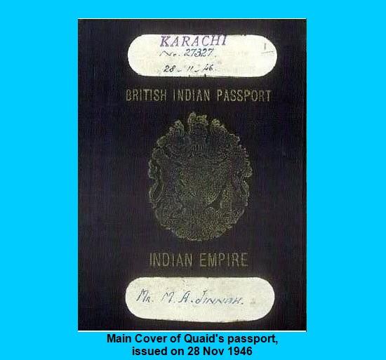 Main cover of Muhammad Ali Jinnah passport of British Indian