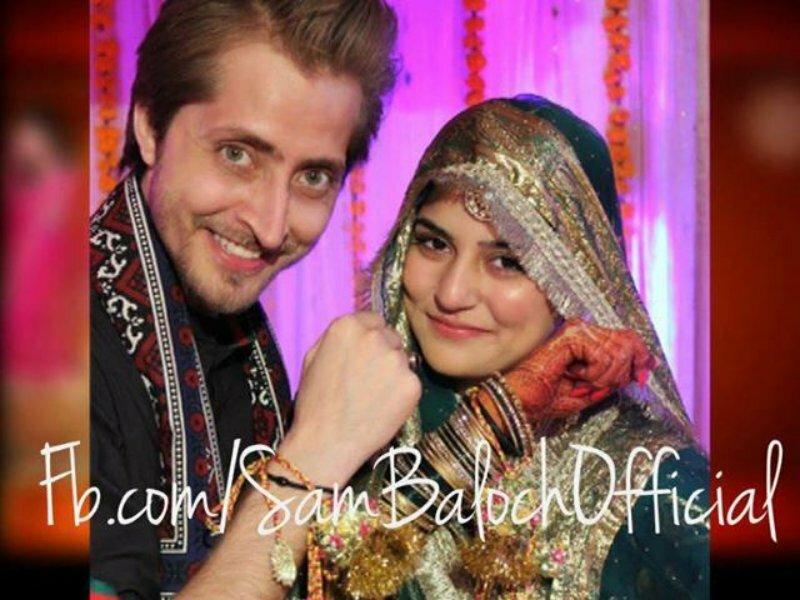 Wedding Pictures of Sanam Baloch with Husband Abdullah Farhatullah