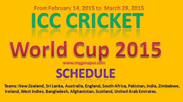 Complete ICC Cricket World-Cup 2015 schedule Fixture