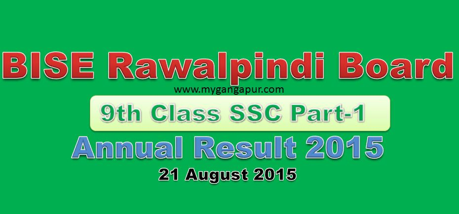 BISE Rawalpindi Board Matric 9th/10th Class Result 2015