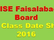 BISE Faisalabad Board 9th & 10th Class Date Sheet 2016