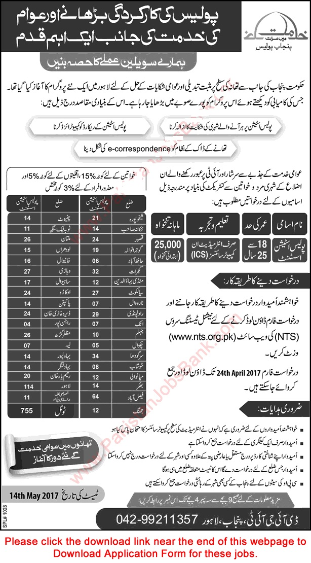 Punjab Police 2017 April NTS Application Form Download