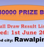 Rawalpindi Rs 40000 Draw Result Prize bond Full List 1st June, 2017