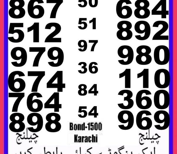 Rs, 1500 Prize bond Guess Papers Karachi 15.02.2018