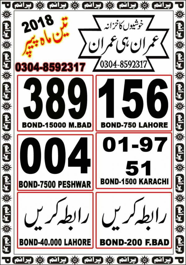 Rs, 1500 Prize bond Guess Papers Karachi 15.02.2018 (5)