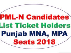 PML-N Final Candidates Full List Ticket Holders Punjab MNA, MPA Seats 2018