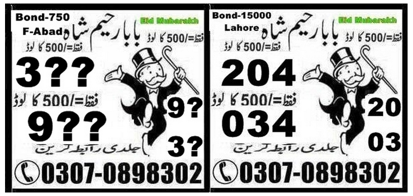 Baba Rahim shah 750 Prize bond Guess Papers 2018