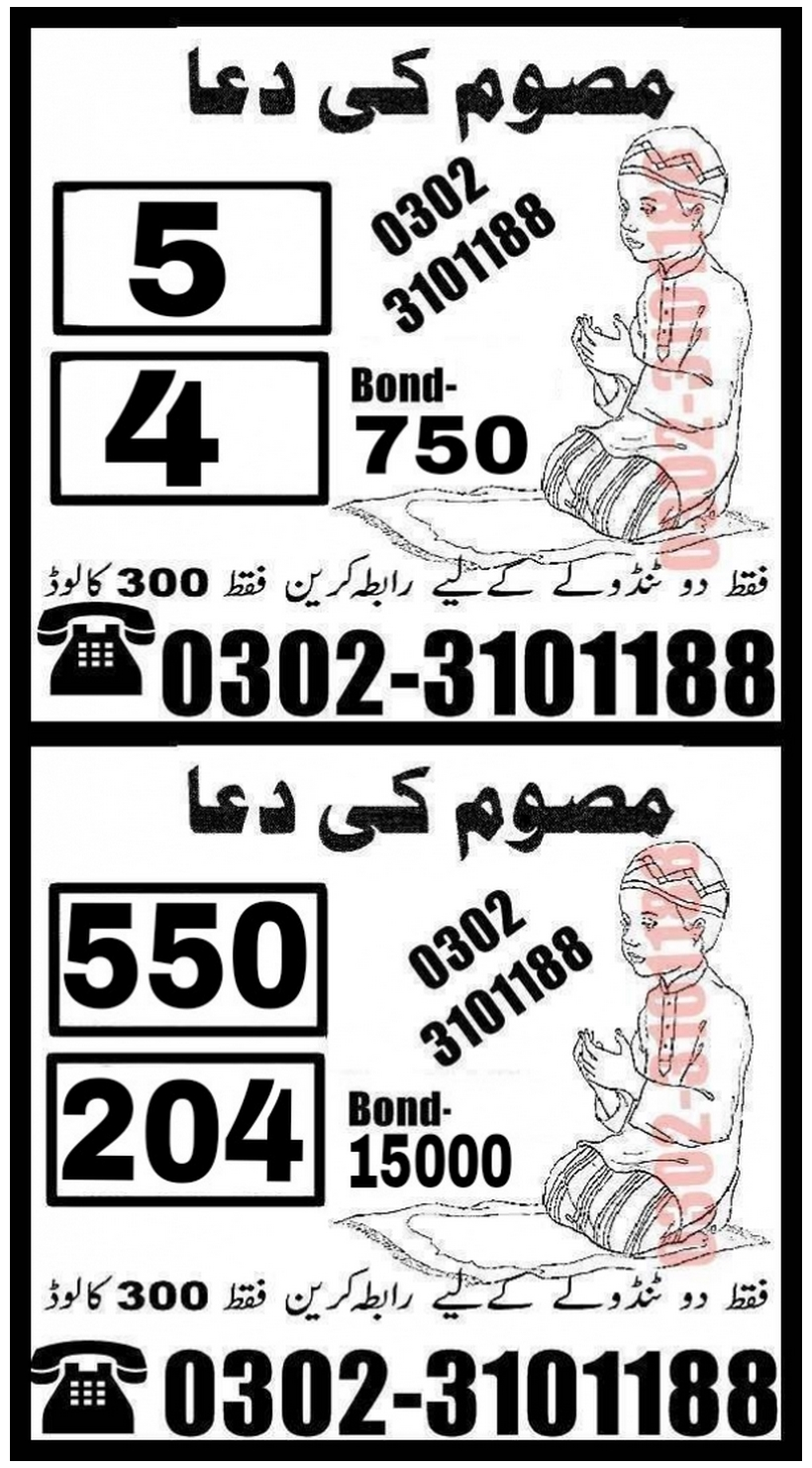 Massom Ki Dua 750 Prize bond Guess Papers 2018
