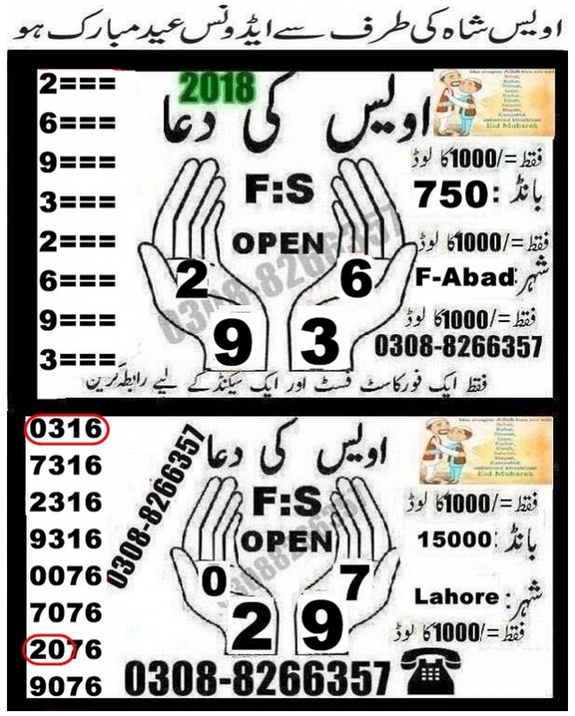 Owais ki Dua 750 Prize bond Guess Papers 2018