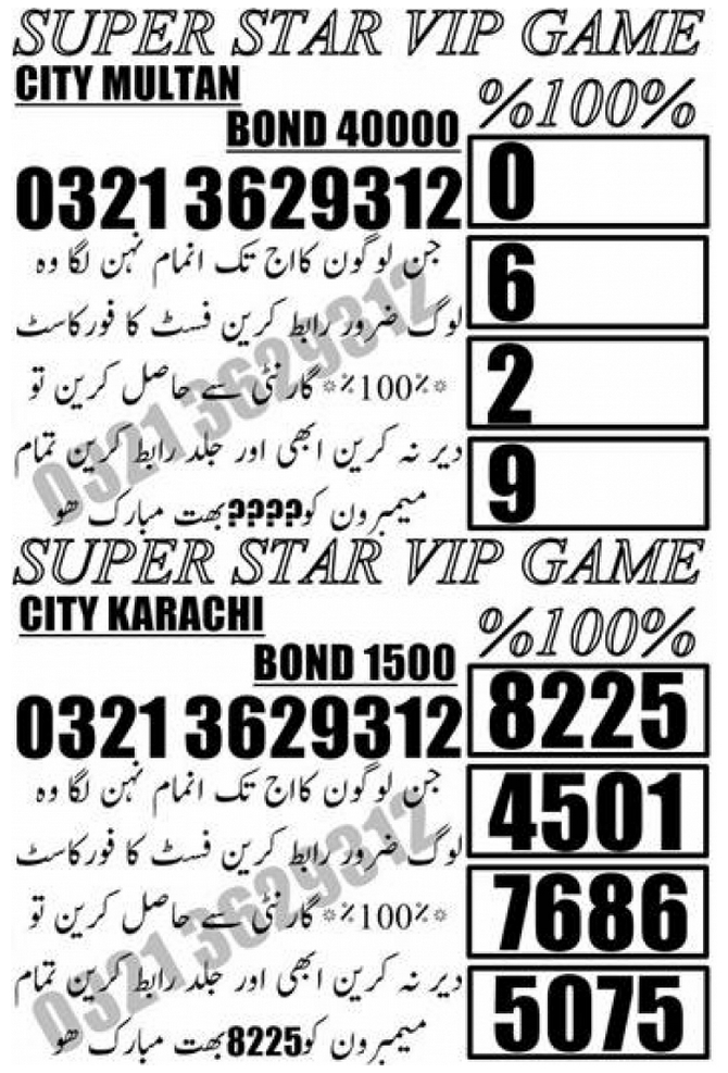 SUPER STAR GAME 40000 Prize bond Guess Papers September 2018