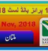 Prize Bond Rs. 100 Draw #24 Full List Result 15-11-2018 Multan