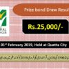 Prize Bond Rs. 25000 Draw #28 Full List Result 01-02-2019 Quetta