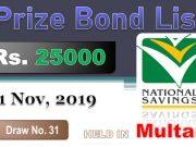 Prize Bond Rs. 25000 Draw #31 Full List Result 01-11-2019 Multan