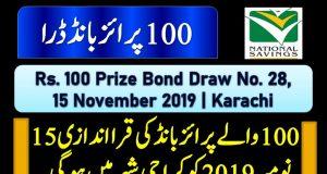 Prize Bond Rs. 100 Draw #28 Full List Result 15-11-2019 Karachi