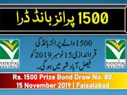 Draw 80, Rs. 1500 Prize Bond List, FSD On 15-11-2019