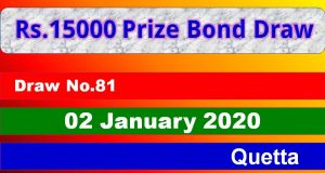 Prize Bond Rs. 15000 Draw No. 81 02-01-2020 Held Quetta