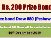 Prize Bond Rs. 200 Draw No. 80 16-12-2019