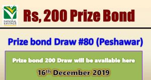 Prize Bond Rs. 200 Draw No. 80 16-12-2019