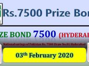 Prize Bond Rs. 7500 Draw No. 81 03-02-2020 Held Hyderabad