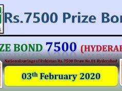 Prize Bond Rs. 7500 Draw No. 81 03-02-2020 Held Hyderabad