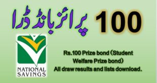 Prize bond Rs. 100 Draw List 2020 Check online