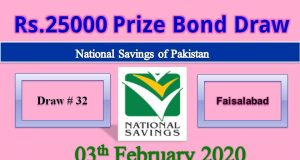 Prize Bond Rs. 25000 Draw No. 81 03 February 2020 Held Faisalabad