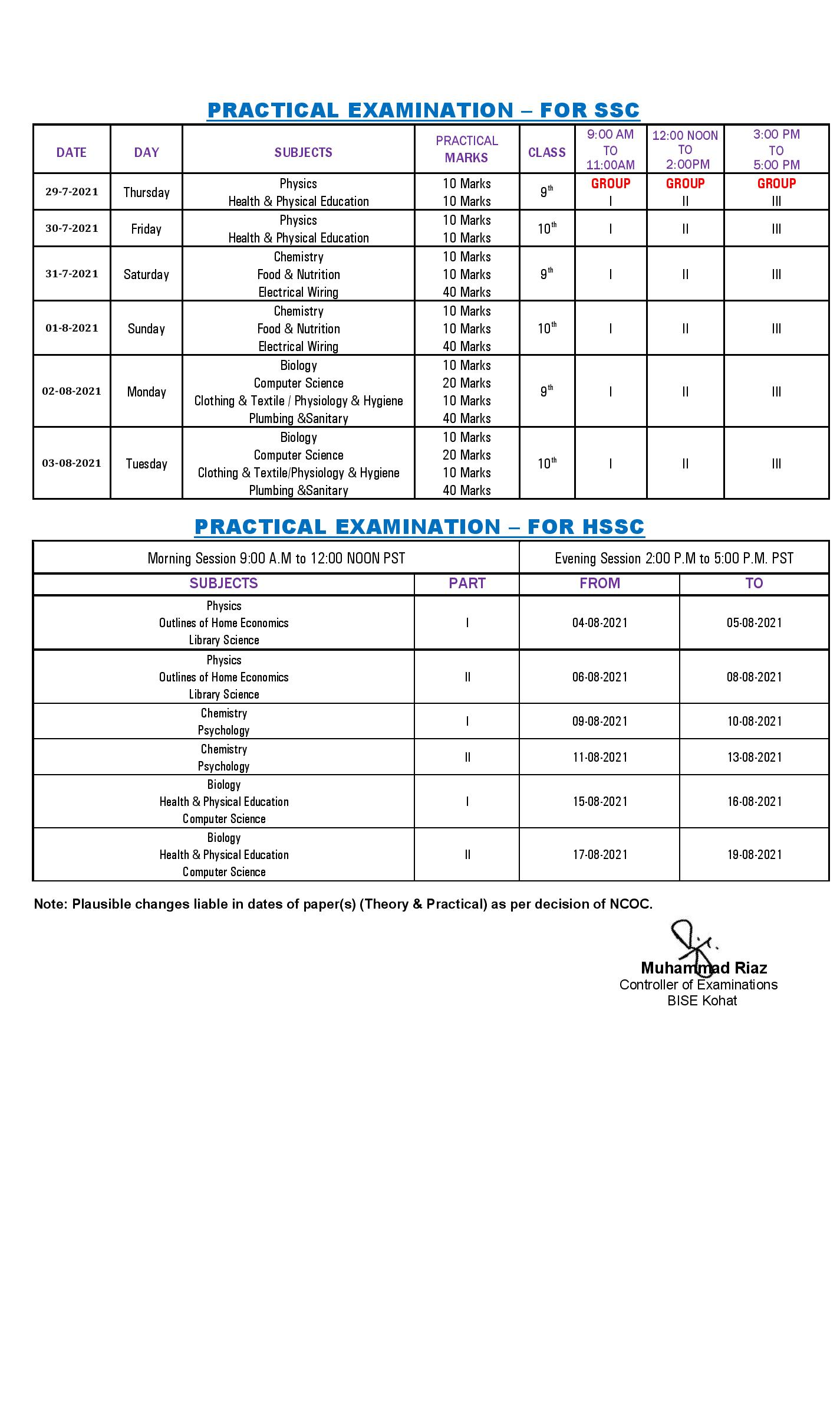 kohat board matric date sheet 2021