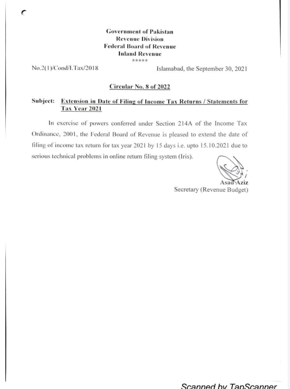 FBR Date Extend Letter 15 Oct